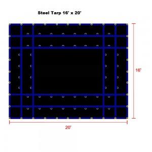 Black 16 x 20- Light Weight (15oz)  Truck Tarp, Steel Tarp