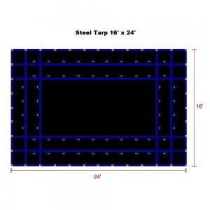 Black 16 x 24- Light Weight (15oz)  Truck Tarp, Steel Tarp