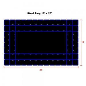 Black 16 x 26- Light Weight (15oz)  Truck Tarp, Steel Tarp