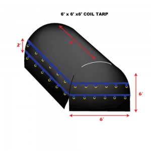 Black 6 x 6 X 6 - Light Weight (15oz)  Truck Tarp, Coil Tarp