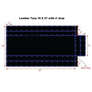 Black 16 x 27 - Light Weight (15oz)  Truck Tarp, Lumber Tarp - 4' Drop