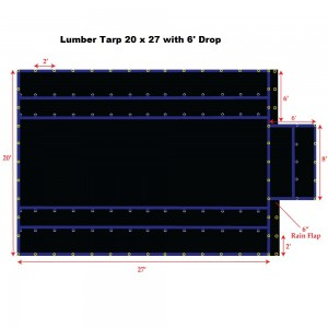 Black 20 x 27 - Light Weight (15oz)  Truck Tarp, Lumber Tarp - 6' Drop