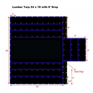 Purple*Blue 24 x 19 - Light Weight (15oz)  Truck Tarp, Lumber Tarp - 8' Drop