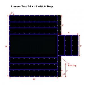 24 x 19 - Heavy Duty (18oz)  Truck Tarp, Lumber Tarp - 8' Drop