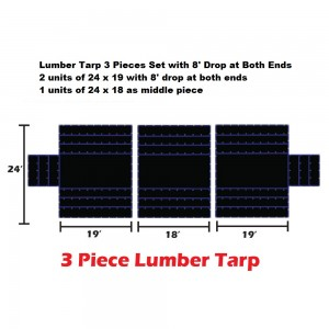 Purple*Blue 24 X 54 - 3 Pieces Light Weight (15oz)   Lumber Tarp - 8' Drop