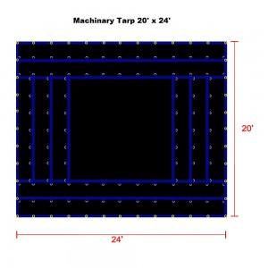 Black 20 x 24 - Light Weight (15oz)  Truck Tarp, Machinery Tarp