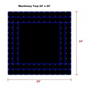 Black 24 x 24 - Light Weight (15oz)  Truck Tarp, Machinery Tarp