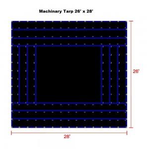 Black 26 x 28 - Light Weight (15oz)  Truck Tarp, Machinery Tarp