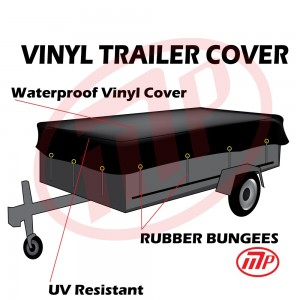 "Xtarps -  8 x 18 - 15oz Light Weight WaterProof Vinyl Trailer Tarp with 10 pcs 9"" Rubber Bungee"